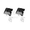 Beszúrós fülbevaló, 925 ezüst, cirkóniás négyzet fekete színben, 6 mm