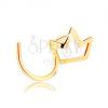 14K sárga arany orrpiercing - kis csillogó korona körvonal