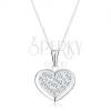 925 ezüst nyakék, medál nyakláncon, szabályos szív cirkóniákkal díszítve