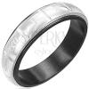 Gyűrű sebészeti acélból - gravírozott római számok, ezüst és fekete színű