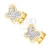 Fülbevaló 14K sárga aranyból - átlátszó cirkóniákkal kirakott pillangó, csillogó körvonal