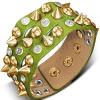 Bőrből készült karkötő - zöld alap, kúp és félgömb szegecsek, tiszta kövek