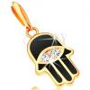 14K sárga arany medál - Fatima keze fekete fénymázzal, szem