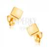 Bedugós fülbevaló 9K sárga aranyból - csillogó négyzet, sima felület