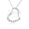 Lánc, szívkörvonal féloldalán cirkóniákkal - nyaklánc, ezüst 925