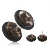 Akryl, hamis piercing fülbe, átlátszó kerekek, fekete törmelékek