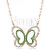 Nyaklánc 925 ezüstből, réz árnyalat, csillogó zöld-átlátszó lepke körvonal