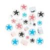 Piercing a fülbe - csilámporos plug, színes csillag