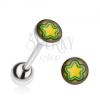 Piercing nyelvbe, acélból, sárga-zöld csillag