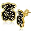Arany színű fülbevaló acélból, kis medve, szerelmi vallomás, fénymáz