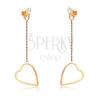 Fülbevaló 9K sárga aranyból - vékony szabályos szívkörvonal a láncon