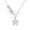 Nyakék 925 ezüstből, ANGEL felirat, csillag átlátszó cirkóniákból