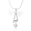 Nyakék 925 ezüstből, spirlálos lánc, háromszög körvonal, cirkónia