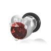 Hamis plug - ezüst szív és vörös cirkónia