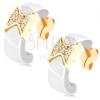 Fülbevaló 9K sárga aranyból - fehér kerámia félkör, csillogó masni
