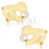 375 arany fülbevaló - lapos részleges szív kivágással, átlátszó cirkónia