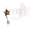 Szemöldök piercing, piros - fekete csillag