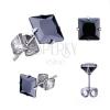 316L acél fülbevaló,ezüst szín, fekete cirkónia négyszög, különböző méret