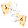 Kétszínű fülbevaló 9K aranyból - kicsi lapos szívecske, tükörfény