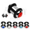 Plug - fülpiercing acélból, színes cirkónia, két fekete gumi