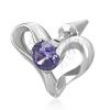 Hamis acél fülpiercing - szív és lila cirkónia