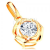 585 arany medál - fényes rózsa kerek cirkóniával a közepén