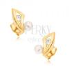 Fülbevaló 9K sárga aranyból - karom kivágással, cirkóniával és gyöngyel