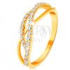 585 arany gyűrű - fonott hullámok - egy sima és két cirkóniás
