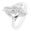 Ezüst árnyalatú gyűrű, átlátszó cirkóniás vonal,átlátszó cirkónia középen