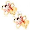 14K arany fülbevaló - fényes két színű virág átlátszó cirkóniával középen