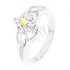 Gyűrű ezüst színben sárga kerek cirkóniával, átlátszó cirkóniás szegély