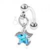 Szemöldök piercing 316L acélból, cirkóniás csillag kék színben