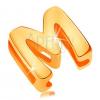 14K sárga medál, fényes és sima felület, nagy nyomtatott M betű