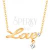 14K arany nyaklánc - fényes lánc, Love felirat és két átlátszó cirkónia