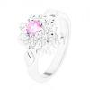 Gyűrű ezüst színben, rózsaszín - átlátszó virág, levélkék