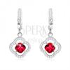 Fülbevaló - ezüst 925, függő virág, piros cirkónia, átlátszó kövek