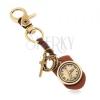 Kulcstartó bronz színben, műbőr órával, karikák és kereszt