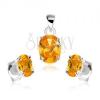 Szett 925 ezüstből, medál, fülbevaló, narancssárga cirkóniás ovális
