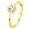 585 arany gyűrű - fénylő virág átlátszó cirkóniákból, vékony szárak