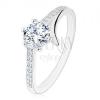 925 ezüst gyűrű, szétválasztott szárak, cirkóniás vonalak, kerek cirkónia