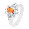 Ezüst színű gyűrű, narancssárga cirkóniás ovális átlátszó szegéllyel