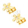 375 bedugós, arany fülbevaló, csillogó, ötszirmú virág, cirkóniával