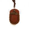 Műbőr nyakék, medál - barna ovális alakú medál karikákkal és motorkerékpár