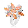 Gyűrű fényes szárakkal, nagy virág narancssárga és átlátszó szirmokkal