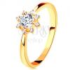 Gyűrű 14K sárga aranyból - átlátszó csillogó szív, keskenyedő szárak