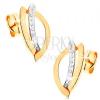 Fülbevaló kombinált 14K aranyból - szemkörvonal és díszített ív cirkóniákkal