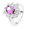 Gyűrű osztott szárakkal, lila ovális csillogó cirkóniás szegély