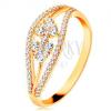14K sárga arany gyűrű - hullámos csillogó vonalak és masni cirkóniákkal kirakva