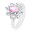 Ezüst színű gyűrű, csillogó virág cirkóniákkal, sima szárak