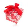Piros-fehér dobozka gyűrűre, fülbevalóra vagy medálra, szív, masni